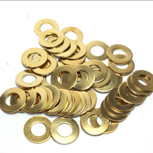 Solid Brass Flat Washer 10mm Hole x 20mm Diameter x 1.20mm Thick Pack of 50